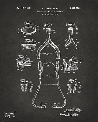 Monocromatic Drawing - 1932 Medical Stethoscope Patent Artwork - Gray by Nikki Marie Smith