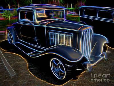 1932 Nash Coupe Antique Car - Neon Print by Gary Whitton