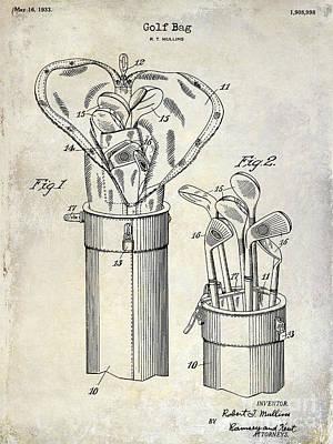 1933 Golf Bag Patent Drawing Print by Jon Neidert