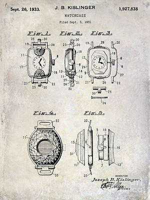 Watch Photograph - 1933 Watch Case Patent Drawing  by Jon Neidert