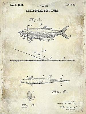 Largemouth Bass Photograph - 1934 Artificial Fish Lure Patent Drawing by Jon Neidert