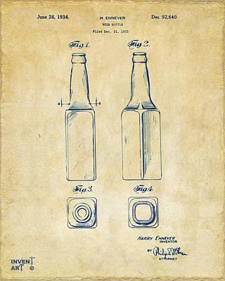 Liquor Digital Art - 1934 Beer Bottle Patent Artwork - Vintage by Nikki Marie Smith