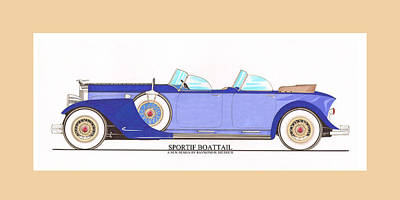 Sportif Print featuring the painting 1934 Packard Sportif Boattail Concept By Dietrich by Jack Pumphrey