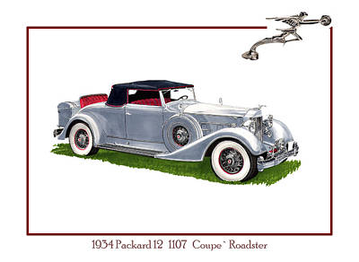 Antennae Drawing - 1934 Packard Twelve 1107 Coupe by Jack Pumphrey