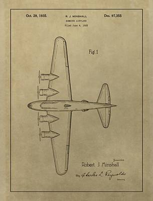 Airplane Mixed Media - 1935 Bombing Airplane Patent by Dan Sproul