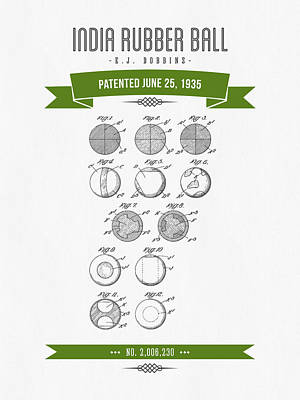 1935 India Rubber Ball Patent Drawing - Retro Green Print by Aged Pixel