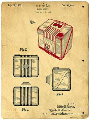 Camera Drawing - 1935 Kodak Camera Casing Patent by Edward Fielding