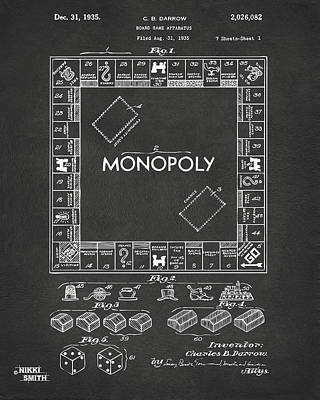 Monopoly Drawing - 1935 Monopoly Game Board Patent Artwork - Gray by Nikki Marie Smith