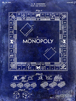 Monopoly Photograph - 1935 Monopoly Patent Drawing Blue by Jon Neidert