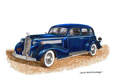 Radiator Drawing - 1936 Cadillac Model 70 Fleetwood Sedan by Jack Pumphrey