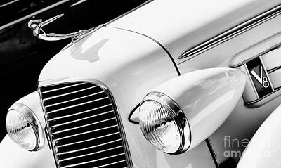 1936 Cadillac V8 Monochrome Print by Tim Gainey