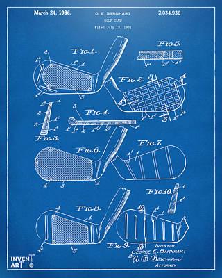 Golf Club Digital Art - 1936 Golf Club Patent Blueprint by Nikki Marie Smith