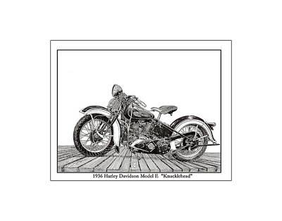 1936 Harley Knucklehead Print by Jack Pumphrey
