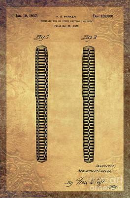 1936 Parker Pen Patent Art 1 Print by Nishanth Gopinathan