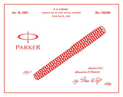 1936 Parker Pen Patent Art With Logo 2 Print by Nishanth Gopinathan