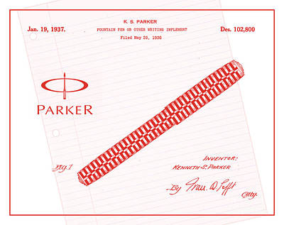 1936 Parker Pen Patent Art With Logo 3 Print by Nishanth Gopinathan