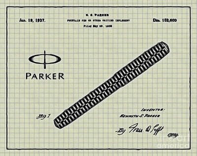1936 Parker Pen Patent Art With Logo 4 Print by Nishanth Gopinathan