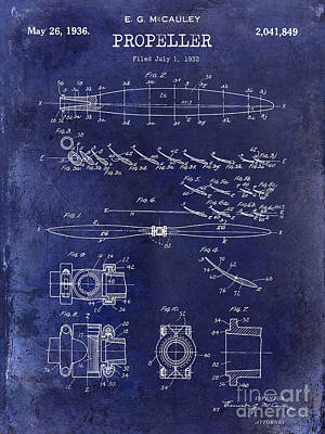 1936 Propeller Patent Drawing Blue Print by Jon Neidert