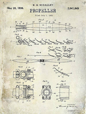 1936 Propeller Patent Drawing Print by Jon Neidert
