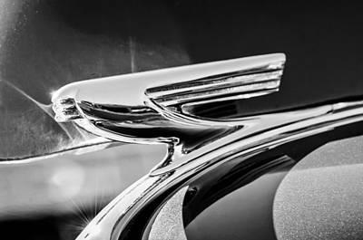 1937 Chevrolet 2 Door Sedan Hood Ornament -0834bw Print by Jill Reger