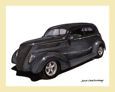 Ink Wash Drawing Painting - 1937 Ford 2 Door Street Rod by Jack Pumphrey