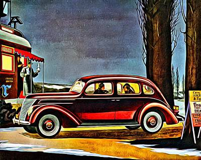 Dinner Painting - 1937 Ford V-8 Sedan by Florian Rodarte