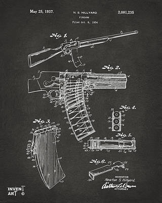 Remington Drawing - 1937 Police Remington Model 8 Magazine Patent Artwork - Gray by Nikki Marie Smith