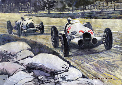 Swiss Painting - 1937 Rudolf Caracciola Winning Swiss Gp W 125 by Yuriy Shevchuk