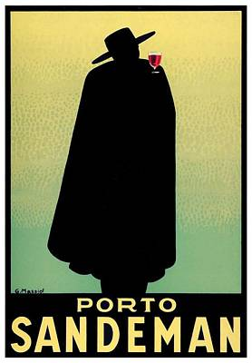 1938 - Porto Sandeman French Wines Advertisement Poster - Color Print by John Madison