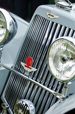 1939 Photograph - 1939 Aston Martin 15-98 Abbey Coachworks Swb Sports Grille Emblems by Jill Reger