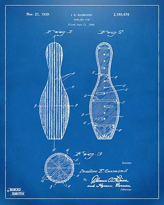 Bowling Digital Art - 1939 Bowling Pin Patent Artwork - Blueprint by Nikki Marie Smith