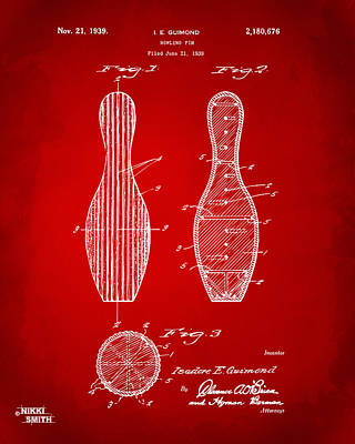 Bowling Digital Art - 1939 Bowling Pin Patent Artwork - Red by Nikki Marie Smith