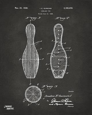 Bowling Digital Art - 1939 Bowling Pin Patent Artwork - Gray by Nikki Marie Smith