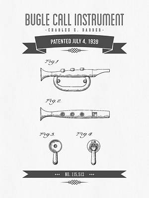 Trumpet Mixed Media - 1939 Bugle Call Instrument Patent Drawing by Aged Pixel