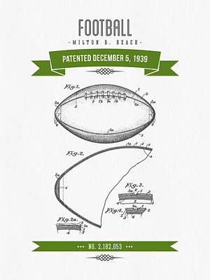 1939 Football Patent Drawing - Retro Green Print by Aged Pixel