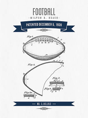 1939 Football Patent Drawing - Retro Navy Blue Print by Aged Pixel