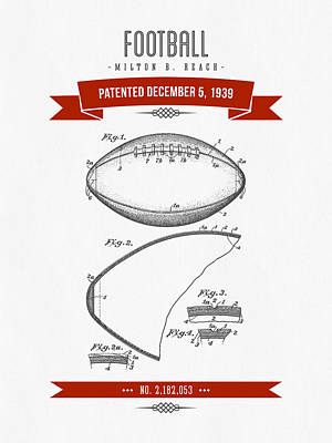 1939 Football Patent Drawing - Retro Red Print by Aged Pixel