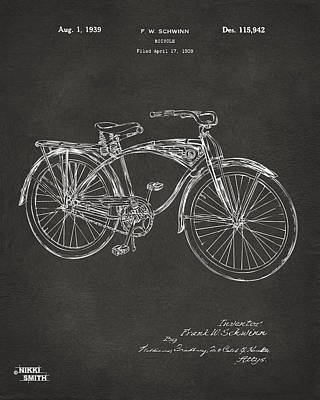 Drawing - 1939 Schwinn Bicycle Patent Artwork - Gray by Nikki Marie Smith