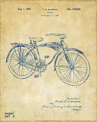 Bicycle Art Drawing - 1939 Schwinn Bicycle Patent Artwork Vintage by Nikki Marie Smith