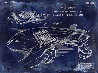 Largemouth Bass Photograph - 1940 Boning Fish Patent Drawing Blue by Jon Neidert