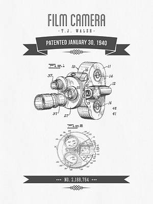 1940 Film Camera Patent Drawing - Retro Gray Print by Aged Pixel