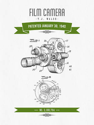 1940 Film Camera Patent Drawing - Retro Green Print by Aged Pixel