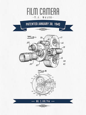 1940 Film Camera Patent Drawing - Retro Navy Blue Print by Aged Pixel