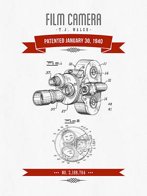 1940 Film Camera Patent Drawing - Retro Red Print by Aged Pixel