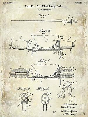 1940 Handle For Fishing Pole Patent Drawing Blue Print by Jon Neidert