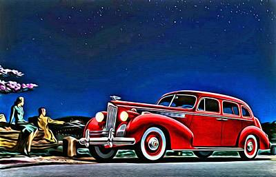Touring Painting - 1940 Packard Super 8 One Sixty Touring Sedan Ad by Florian Rodarte