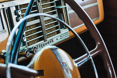 Woody Wagon Photograph - 1940 Plymouth Deluxe Woody Wagon Steering Wheel by Jill Reger