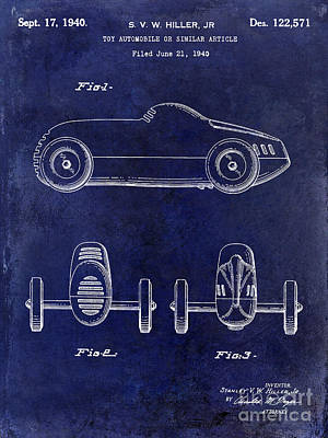 Indy Car Photograph - 1940 Toy Car Patent Drawing Blue by Jon Neidert