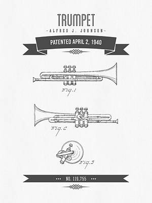 Trumpet Mixed Media - 1940 Trumpet Patent Drawing by Aged Pixel