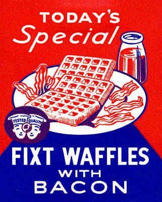 American Food Painting - 1940 Waffles With Bacon by Historic Image